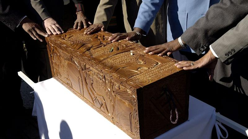A hand-made casket from Ghana, used in the African Burial Ground Memorial Project