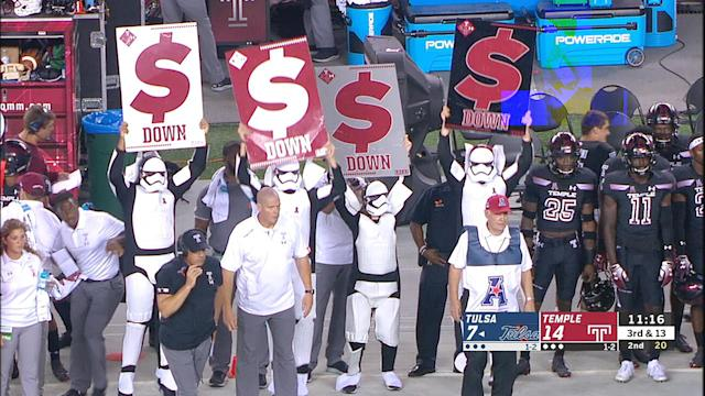 Temple brought out four Stormtroopers to hold up sideline play cards on Thursday night. (ESPN)