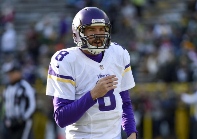 Dec 24, 2016; Green Bay, WI, USA; Minnesota Vikings quarterback Sam Bradford (8) warms up before a game against the Green Bay Packers at Lambeau Field. Mandatory Credit: Benny Sieu-USA TODAY Sports