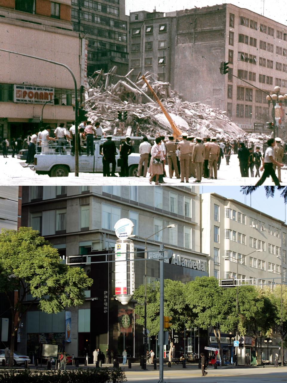 File photo shows a building in Mexico City collapsing during earthquake and same location on September 19, 2005.
