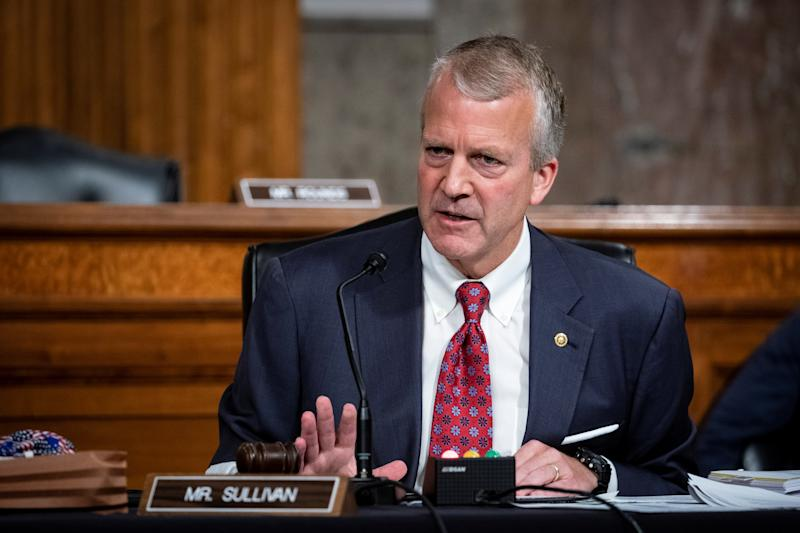 Senator Dan Sullivan (R-AK) speaks during a Senate Armed Services hearing on Capitol Hill in Washington, DC, U.S. May 7, 2020. (Al Drago/Pool via reuters)