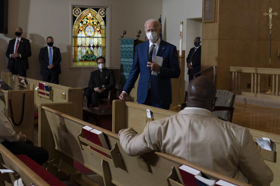 FILE - In this Sept. 3, 2020, file photo Democratic presidential candidate former Vice President Joe Biden speaks during a community event at Grace Lutheran Church in Kenosha Wis. (AP Photo/Carolyn Kaster, File)