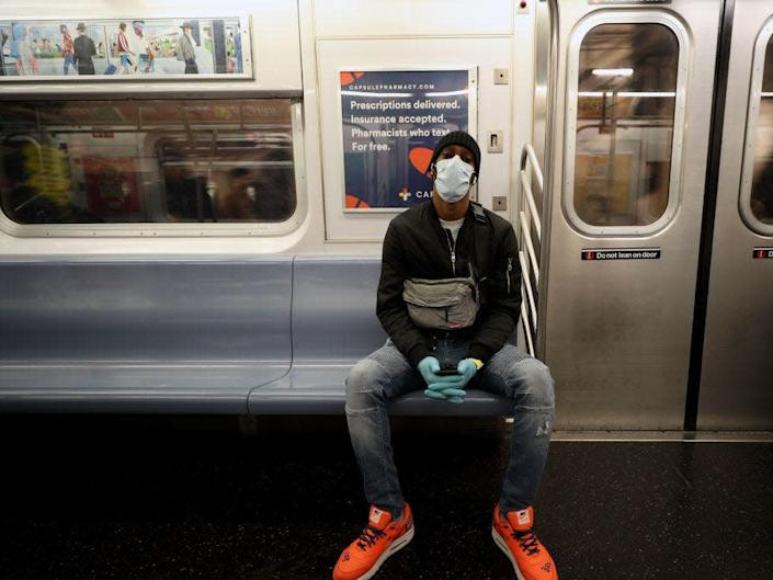 NYC subway coronavirus mask