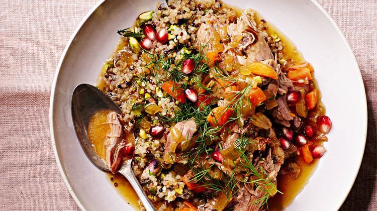 """<p>Fresh dill, <a href=""""https://www.marthastewart.com/1509263/pomegranates-are-the-superfood-of-fall"""" rel=""""nofollow noopener"""" target=""""_blank"""" data-ylk=""""slk:pomegranate seeds"""" class=""""link rapid-noclick-resp"""">pomegranate seeds</a>, and pistachios brighten up this <a href=""""https://www.marthastewart.com/1143231/casseroles-and-slow-cooker-recipes-winter"""" rel=""""nofollow noopener"""" target=""""_blank"""" data-ylk=""""slk:slow-cooked"""" class=""""link rapid-noclick-resp"""">slow-cooked</a> lamb shoulder stew that's just right for cold-weather. The tough cut is perfect for braising—it breaks down and becomes juicy and robust over time. <a href=""""https://www.marthastewart.com/1519705/slow-cooker-persian-lamb-stew"""" rel=""""nofollow noopener"""" target=""""_blank"""" data-ylk=""""slk:View recipe"""" class=""""link rapid-noclick-resp""""> View recipe </a></p>"""