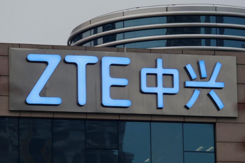 The company name of ZTE is seen outside the ZTE R&D building in Shenzhen