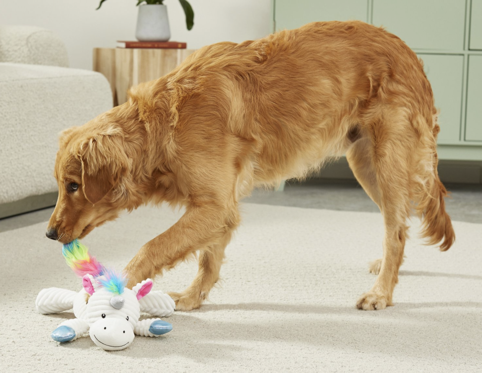Your fur baby will love this corduroy unicorn toy. (Photo: Chewy)