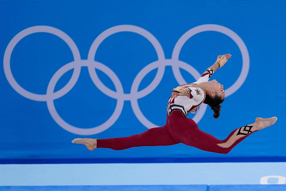 German artistic gymnast Pauline Schaefer-Betz performs her floor exercise routine in the Tokyo Olympics on July 25, 2021.