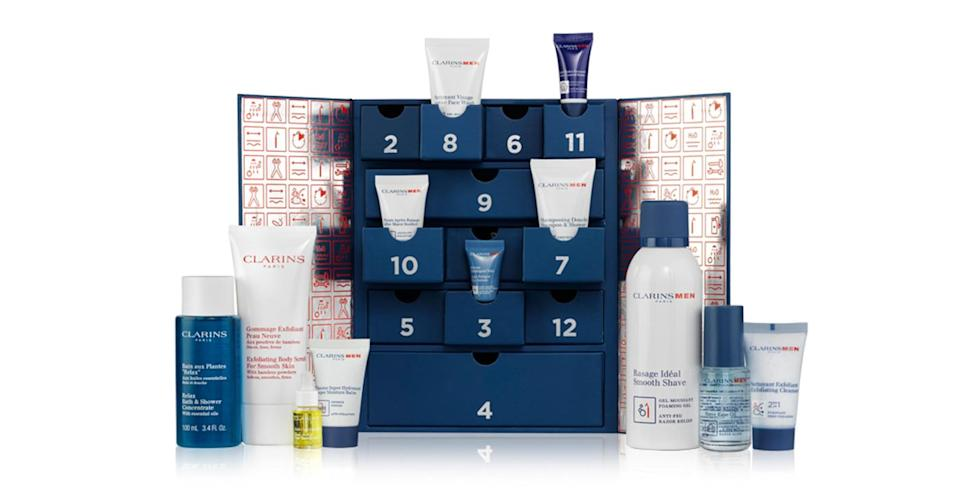 <p>Men don't have to miss out on the skincare fun with this £60 '12 days of Christmas' calendar.<em> Available at Clarins. </em> </p>