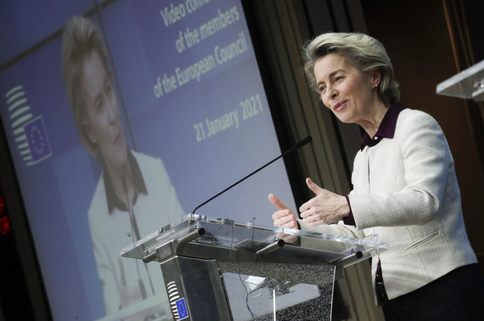 European Commission President Ursula von der Leyen speaks during a joint news conference with European Council President Charles Michel at the end of a EU summit video conference at the European Council headquarters in Brussels, Thursday, Jan. 21, 2021. European Union leaders assessed more measures to counter the spread of coronavirus variants during a video summit Thursday as the bloc's top disease control official said urgent action was needed to stave off a new wave of hospitalizations and deaths. (Olivier Hoslet, Pool Photo via AP)