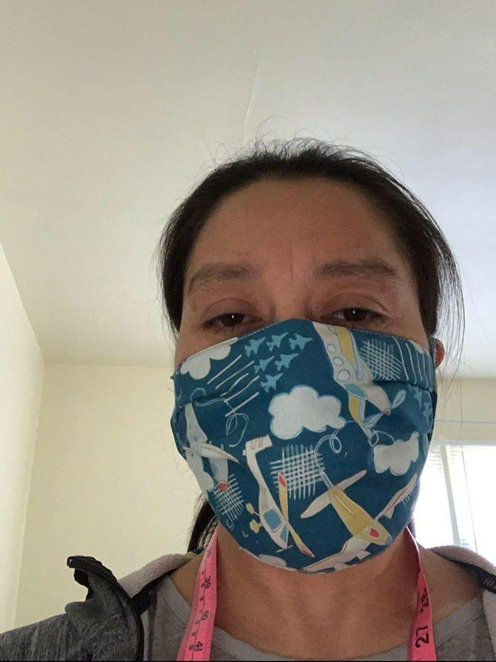 Maritza Duarte of Spring Valley shows one of the masks she made for health-care workers as part of The Masked Warriors Project (Rockland County, NY) Facebook group.