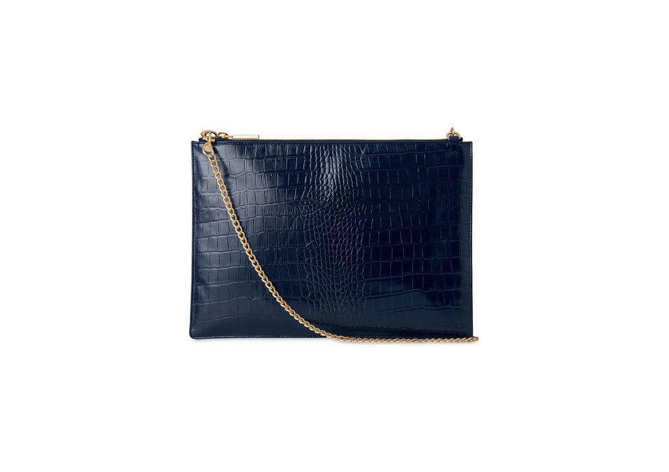 "<p>Whistles Shiny Croc Rivington Clutch, $160, <a href=""http://www.whistles.com/women/accessories/small-accessories/shiny-croc-rivington-clutch-21511.html?dwvar_shiny-croc-rivington-clutch-21511_color=Navy"" rel=""nofollow noopener"" target=""_blank"" data-ylk=""slk:whistles.com"" class=""link rapid-noclick-resp"">whistles.com </a></p>"