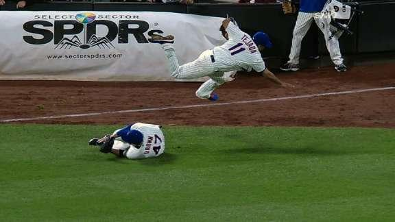 Ruben Tejada suffers broken leg chasing pop-up, stays in game to complete inning