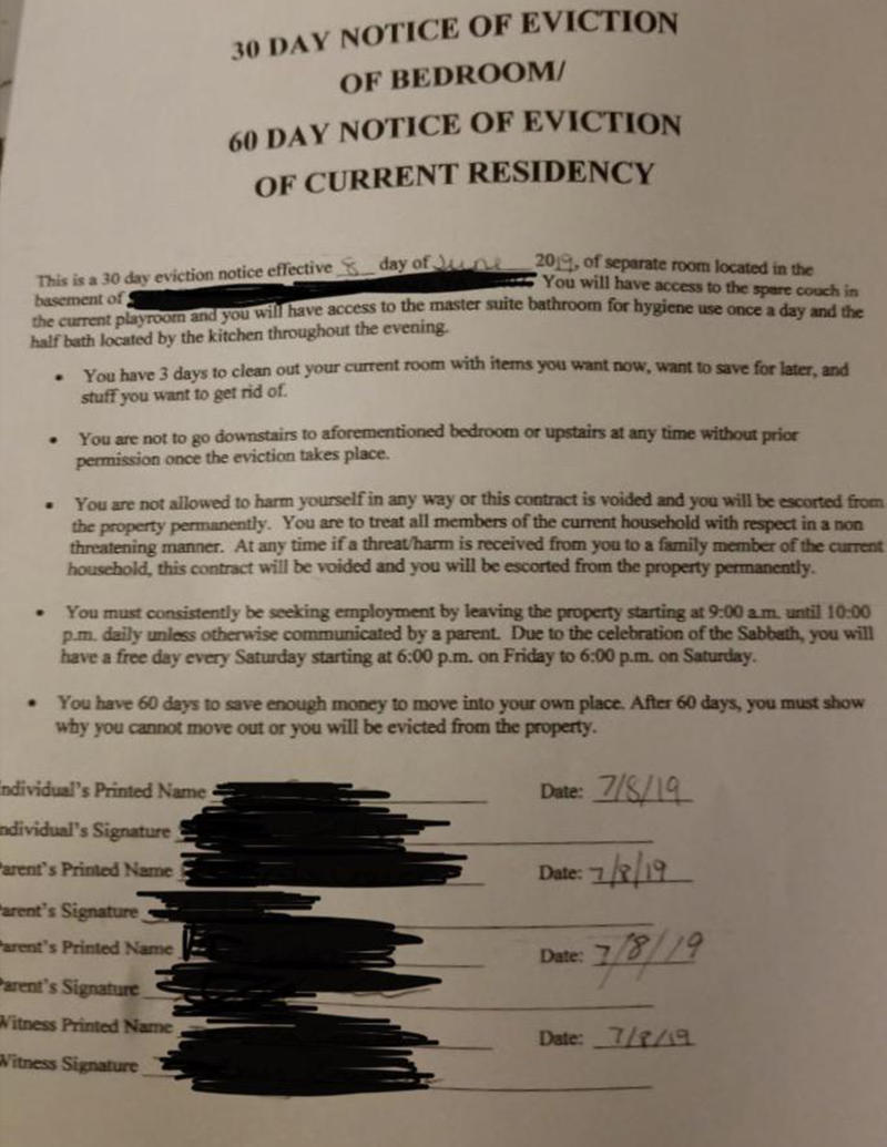 The eviction notice that was posted on Reddit giving the 18-year-old boy 60 days to move out.