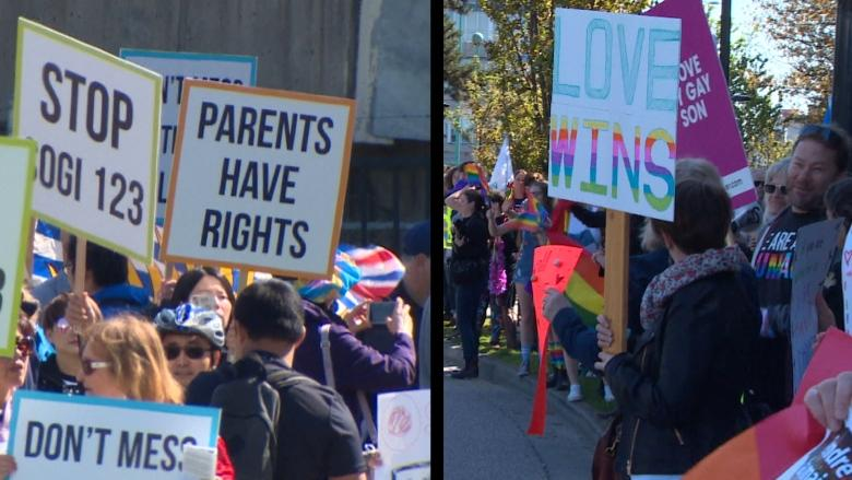 Duelling protests staged at BCTF's office over LGBT-inclusive curriculum
