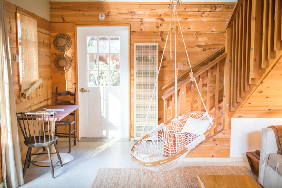"""<h3><a href=""""https://www.airbnb.com/rooms/20154531"""" rel=""""nofollow noopener"""" target=""""_blank"""" data-ylk=""""slk:Ojai Outpost Cabin"""" class=""""link rapid-noclick-resp"""">Ojai Outpost Cabin</a></h3><br>""""This redwood cabin is the perfect hideaway located in exclusive Ojai, California. Tucked down a private drive near the beautiful Ojai Meadows Preserve in the heart of Meiners Oaks Neighborhood (a hipster/hippie enclave)."""" <br><br><strong>Location: </strong>Ojai, California<br><strong>Sleeps: </strong>3<br><strong>Price Per Night: </strong>$95<br><strong>Price Per Month: </strong>$2,280<span class=""""copyright"""">Photo: Courtesy of Airbnb.</span>"""
