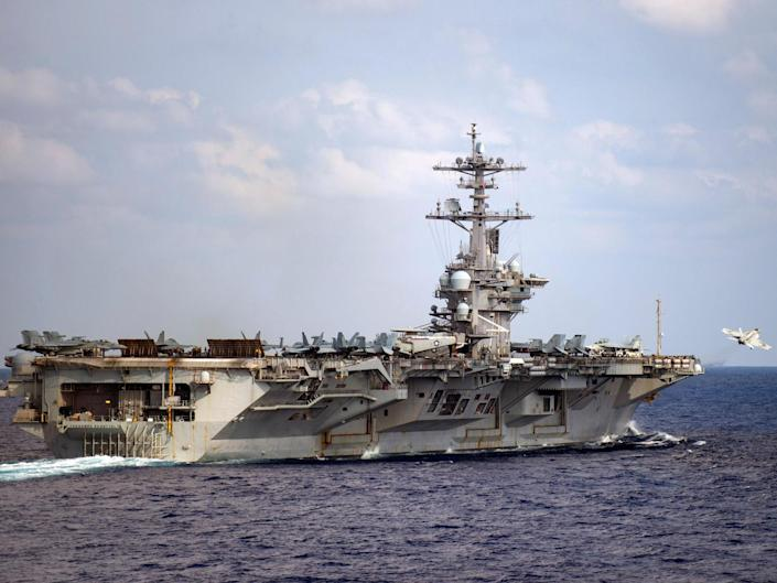 The nuclear aircraft carrier is currently docked in Guam: Nicholas V Huynh (AFP)