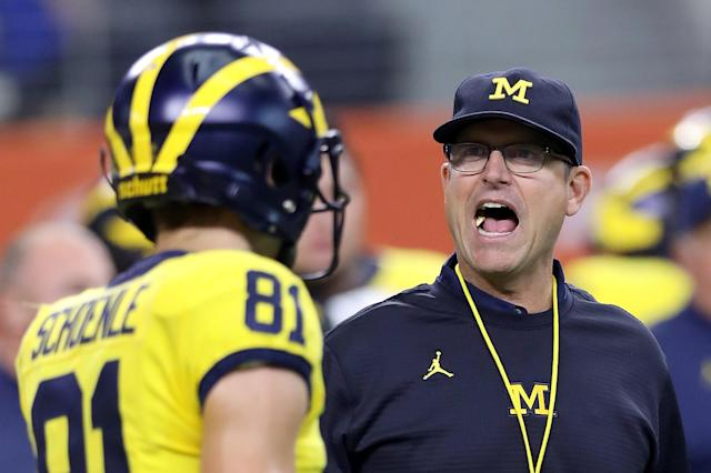 Jim Harbaughand the Wolverines looked plenty capable in dispatching Florida on Saturday. (Getty)