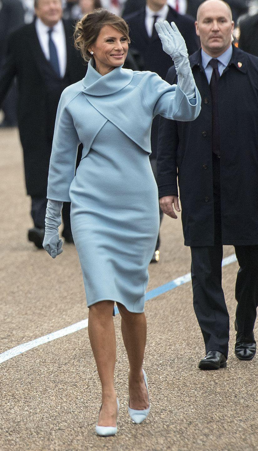 "<p>There's always conversation about who will dress the first lady on inauguration day, but Trump didn't seem to have too many designers lining up for her last year. The first lady ended up wearing a Ralph Lauren dress, and the fashion community had a lot to say about it—specifically designers like Zac Posen <a href=""https://www.marieclaire.com/fashion/news/g4254/designers-who-wont-dress-melania-trump/"" rel=""nofollow noopener"" target=""_blank"" data-ylk=""slk:who refused to dress her"" class=""link rapid-noclick-resp"">who refused to dress her</a>. There had also been a lot of comparison to Jackie O's style, and how Trump would compare to the iconic first lady. </p>"