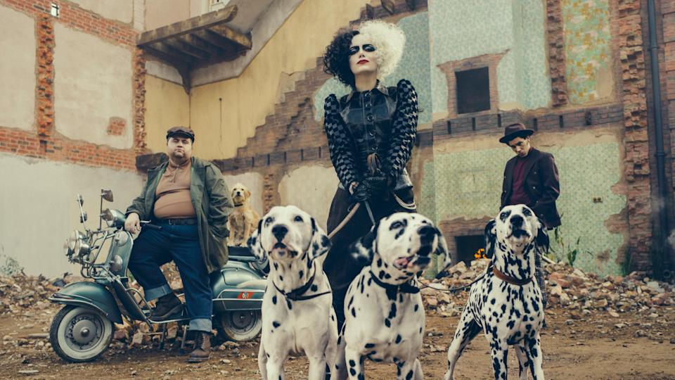 Her look gets closer and closer to the classic Cruella aesthetic as the film goes on (Laurie Sparham)