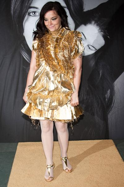 """FILE -- In a Tuesday, June 1, 2010 file photo, Bjork attends Marina Abramovic's """"The Artist is Present"""" exhibition closing party hosted by Givenchy at the Museum of Modern Art in New York. Bjork won a 2012 Webby Award for Artist of the Year. (AP Photo/Charles Sykes, File)"""