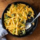 """<p>Broccoli—just like pasta—makes a tasty pairing with sharp Cheddar. Here, we've combined all three ingredients in a homey casserole that's baked in a cast-iron skillet. Replacing some of the pasta in the dish with vegetables makes it more nutritious and helps you cut down on carbs. <a href=""""https://www.eatingwell.com/recipe/7907892/skillet-broccoli-cheddar-mac-cheese/"""" rel=""""nofollow noopener"""" target=""""_blank"""" data-ylk=""""slk:View Recipe"""" class=""""link rapid-noclick-resp"""">View Recipe</a></p>"""
