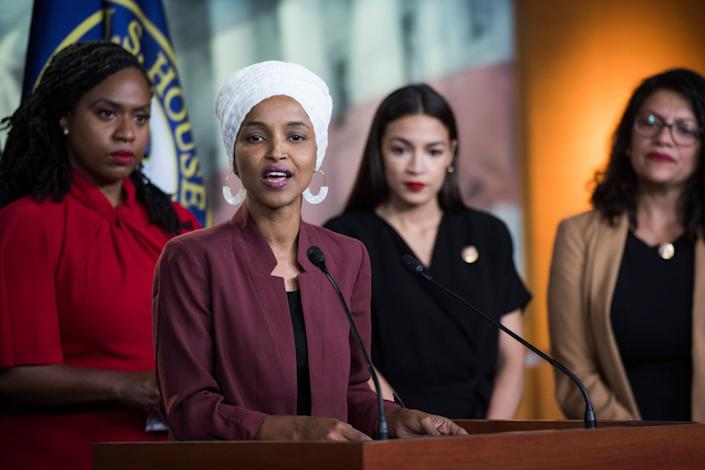 Democratic Reps. Ayanna Pressley (Mass.), Ilhan Omar (Minn.), Alexandria Ocasio-Cortez (N.Y.) and Rashida Tlaib (Mich.) speak after President Trump insulted them in July 2019. (Photo: Tom Williams via Getty Images)