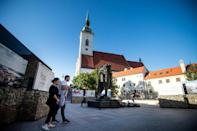 Bratislava's Holocaust Memorial stands close to St Martin's Cathedral on the site of a former synagogue demolished in 1969 (AFP/VLADIMIR SIMICEK)