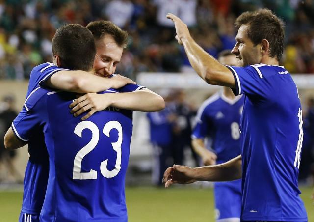 Bosnia and Herzegovina's Hajrovic celebrates his goal against Mexico during their international friendly soccer match at Soldier Field in Chicago
