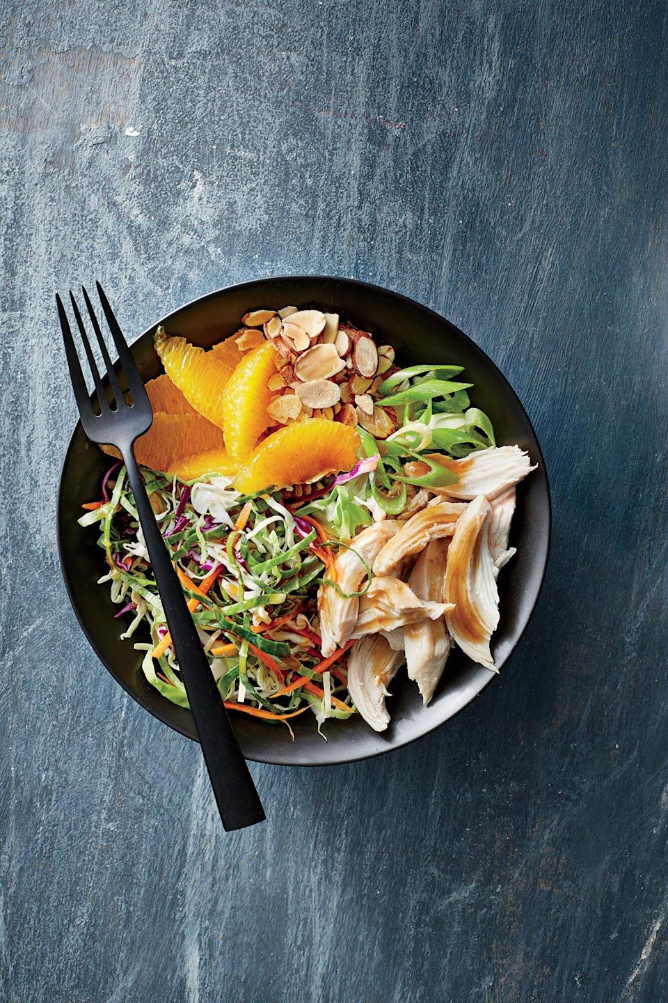 "<p>Make these low-calorie, no-cook bowls ahead for an easy lunch or dinner when time is tight. Change up the fruit, nut, or protein for whatever you have on hand.</p> <p><a href=""https://www.myrecipes.com/recipe/orange-almond-chicken-and-cabbage-bowls"" rel=""nofollow noopener"" target=""_blank"" data-ylk=""slk:Orange-Almond Chicken-and-Cabbage Bowls Recipe"" class=""link rapid-noclick-resp"">Orange-Almond Chicken-and-Cabbage Bowls Recipe</a></p>"