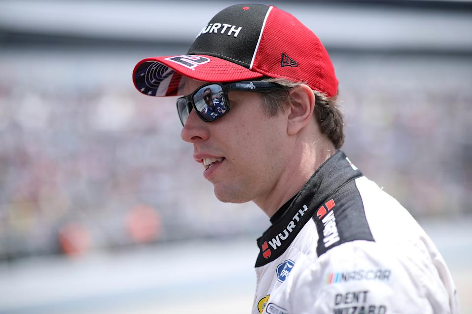 DOVER, DELAWARE - MAY 16: Brad Keselowski, driver of the #2 Wurth/UTI Ford, walks the grid during the NASCAR Cup Series Drydene 400 at Dover International Speedway on May 16, 2021 in Dover, Delaware. (Photo by Sean Gardner/Getty Images)