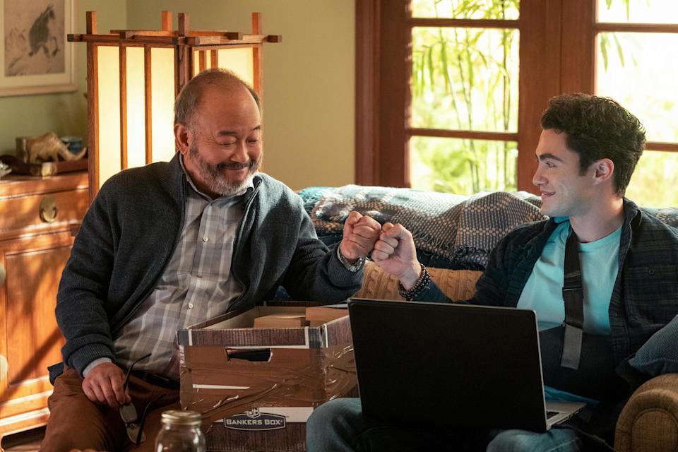 NEVER HAVE I EVER (L to R) CLYDE KUSATSU as TED and DARREN BARNET as PAXTON-HALL YOSHIDA in episode 203 of NEVER HAVE I EVER Cr. ISABELLA B. VOSMIKOVA/NETFLIX © 2021 - Credit: ISABELLA B. VOSMIKOVA/NETFLIX