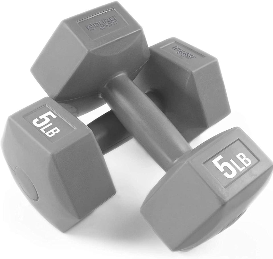 """<p><span class=""""a-size-large product-title-word-break"""">Another Amazon Prime-friendly pair of weights is the five-pound </span><span>Aduro Dumbbells Weight Set</span> ($20).</p>"""
