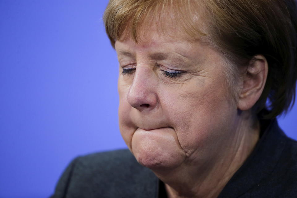 German Chancellor Angela Merkel during a news conference on further coronavirus measures, at the Chancellery in Berlin, Germany, Tuesday Jan. 19, 2021. (Hannibal Hanschke/Pool via AP)