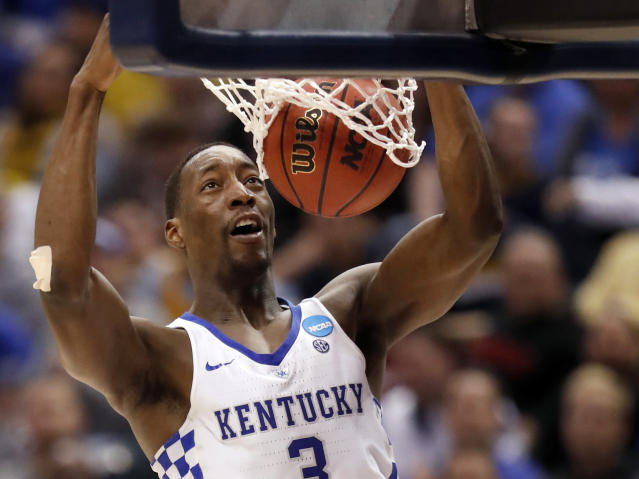 Kentucky's Bam Adebayo dunks the ball during the second half of a second-round game against Wichita State in the men's NCAA college basketball tournament Sunday, March 19, 2017, in Indianapolis. Kentucky won 65-62. (AP Photo/Jeff Roberson)