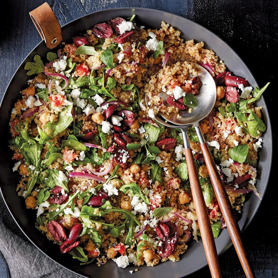 <p>Chock-full of quinoa, chickpeas and vegetables, this salad is a meal in itself. The roasted red peppers, lemon, olives and feta add familiar Mediterranean flavor. If you want to provide a meat option, serve with grilled chicken.</p>