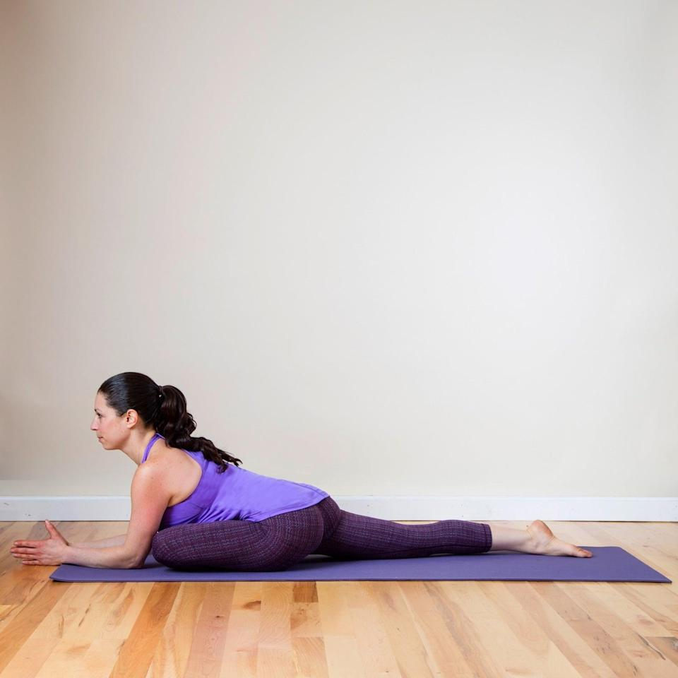 <ul> <li>Begin in Down Dog. Bring your right knee forward between your hands so your outer right leg is resting on the mat. Make sure your left hip is always pointing down toward the mat.</li> <li>Walk your hands out in front of you, allowing your torso to rest over your right knee. Hold here, breathing into any areas of tightness and tension for at least five breaths.</li> <li>Repeat Pigeon on the left side.</li> </ul>