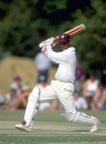 28 Jun 1995:  Jimmy Adams in action for the West Indies against the Combined Universities at Fenners in Cambridge.