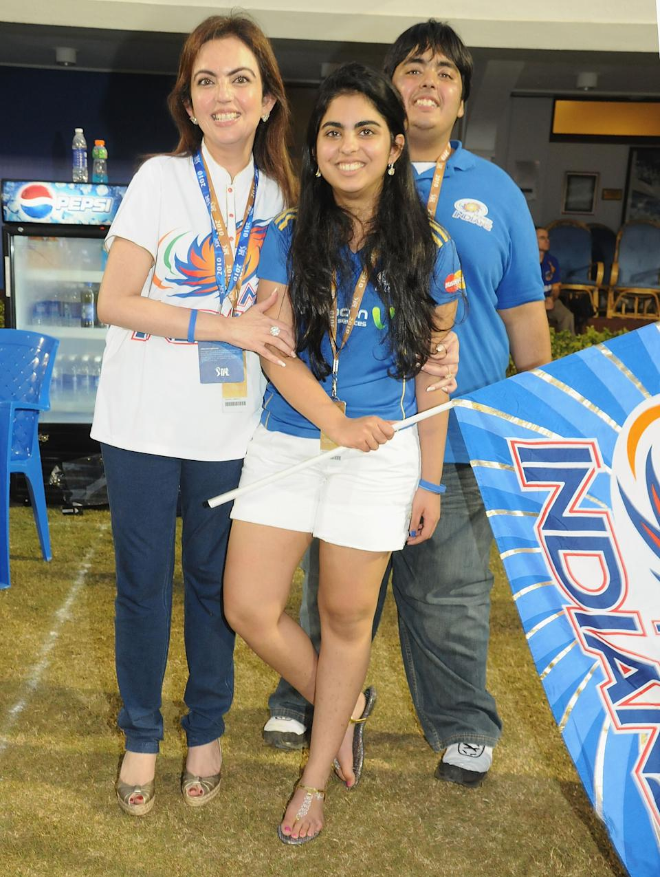 Exclusive MUMBAI, INDIA - MARCH 13:Owner of Mumbai Indians Nita Ambani,Esha Ambani,Anant Ambani after after victory during the 2010 DLF Indian Premier League T20 group stage match between the Mumbai Indians and the Rajasthan Royals played at Brabourne Stadium on March 13, 2010 in Mumbai, India. (Photo by Yogen Shah-IPL 2010/IPL via Getty Images)