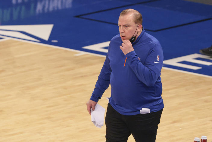 New York Knicks head coach Tom Thibodeau reacts after being assessed a technical foul during the second quarter against the Chicago Bulls at Madison Square Garden in New York on Wednesday, April, 28, 2021. (Vincent Carchietta/Pool Photo via AP)