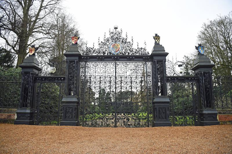 The Norwich Gates to the Sandringham Estate in Norfolk, where Queen Elizabeth II and senior royals held crisis talks over the future roles of the Duke and Duchess of Sussex on Monday. (Photo: Kirsty O'Connor - PA Images via Getty Images)