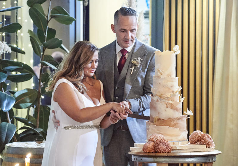 Married at First Sight's Steve and Mishel cut wedding cake
