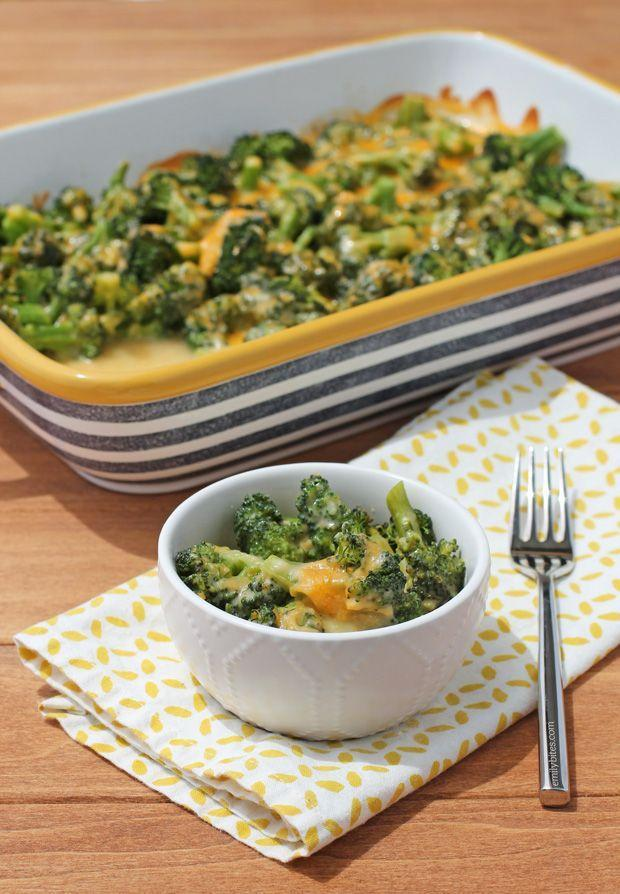 """<p>You won't have trouble getting the kids to eat their vegetables with this classic side.</p><p><strong>Get the recipe at <a href=""""http://www.emilybites.com/2015/06/cheesy-broccoli-bake.html"""" rel=""""nofollow noopener"""" target=""""_blank"""" data-ylk=""""slk:Emily Bites"""" class=""""link rapid-noclick-resp"""">Emily Bites</a>. </strong> </p>"""