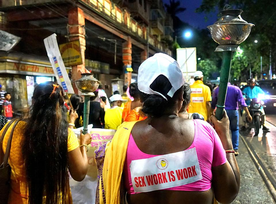 2019/04/30: Sex workers during a rally at Sonagachi. (Photo by Avishek Das/SOPA Images/LightRocket via Getty Images)