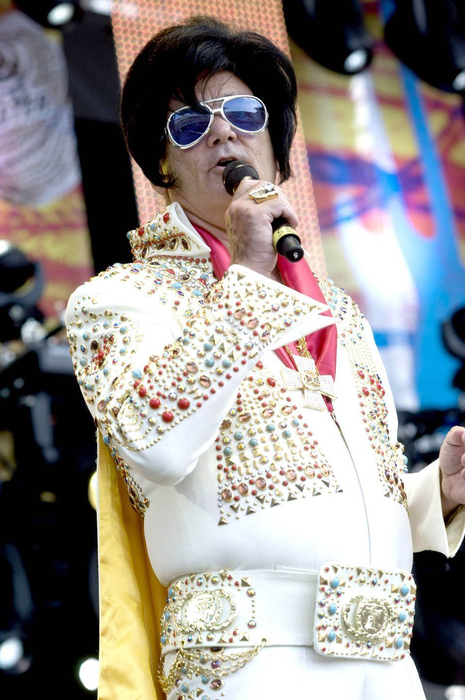 <p>Dressed as Elvis Presley, actor Bill Murray performs onstage at Eric Clapton's Crossroads Guitar Festival, held at Toyota Park, Bridgeview, Illinois, June 26, 2010.</p>