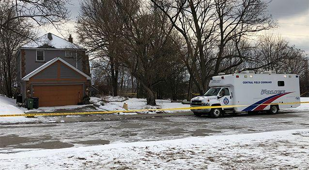 crime scene tape surrounds a property where police say they recovered the remains of at least six people from planters on the property which is connected to alleged serial killer Bruce McArthur. Source: AP