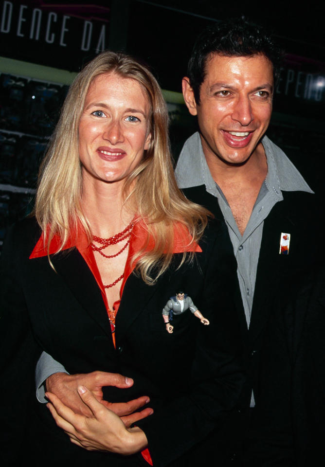 <p>Costar Jeff Goldblum and his then-girlfriend Laura Dern attended the premiere together. The <i>Jurassic Park </i>actorsdated until 1997. <i>(Photo: Getty Images)</i></p>