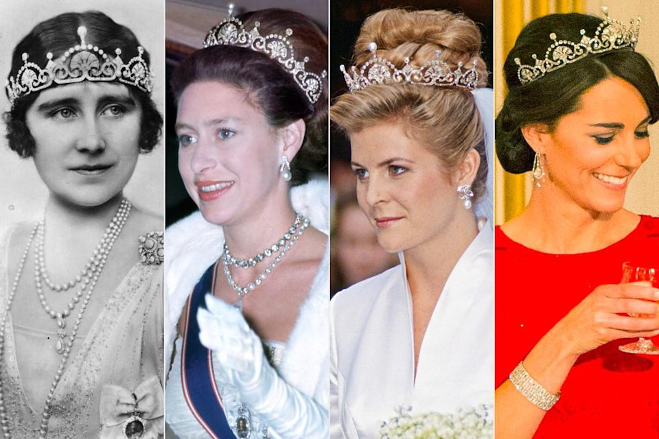 <p>A royal family favorite going back to the Queen Mother!</p> <p>Then the Duchess of York, the elder Elizabeth (far left) first received this diadem as a wedding gift in 1923, though at that time, it was styled as a necklace. She favored wearing it low on forehead.</p> <p>The piece was then handed down to Princess Margaret (second from left), who loaned the tiara to son David Armstrong-Jones' bride-to-be Serena Stanhope (center right) for their wedding day in 1993.</p> <p>More recently, Kate Middleton (far right) wore the sparkler to a Chinese state dinner in 2015. Two years before, she had surprised royal watchers by breaking out the luxe accessory for its first appearance in 20 years.</p>