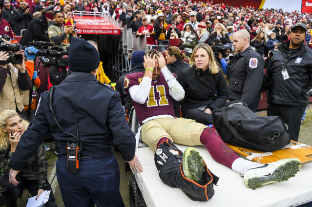 Former Washington quarterback Joe Theismann was watching from the stands last fall when Alex Smith went down with a gruesome leg injury. Instantly, he knew how similar it was to the one that ended his career exactly 33 years prior. (Jonathan Newton/Washington Post via Getty Images)