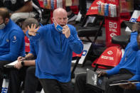 Orlando Magic head coach Steve Clifford shouts instructions to his players during the first half of an NBA basketball game against the Dallas Mavericks, Saturday, Jan. 9, 2021, in Dallas. (AP Photo/Jeffrey McWhorter)
