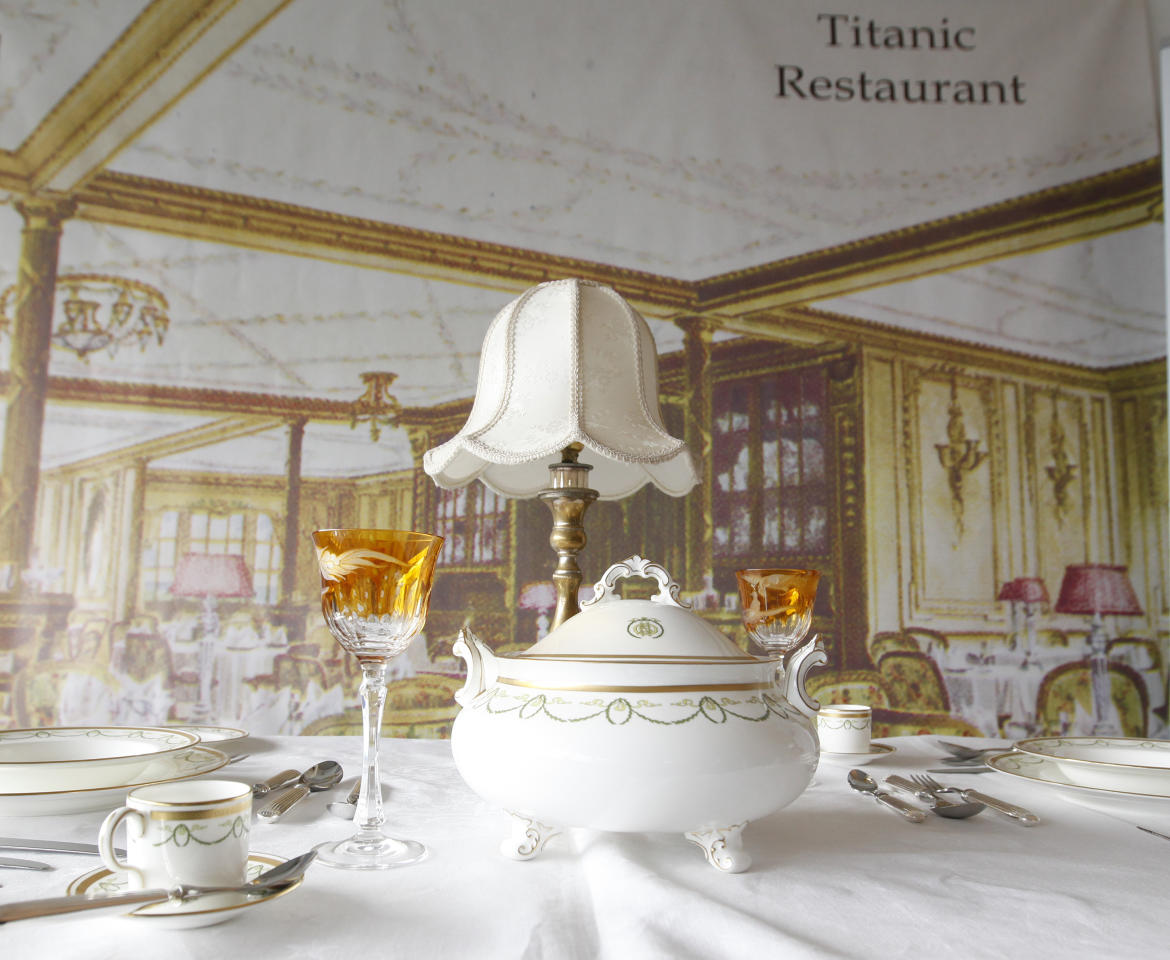 A mock up of a first class dinning table from the Titanic is seen in the check in area for the MS Balmoral Titanic Memorial Cruise in Southampton.